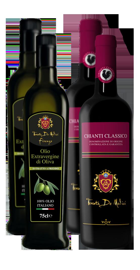 Olio Extravergine di Oliva e Chianti Classico 4 bottiglie
